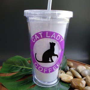 Cold Beverage Tumbler With Cat Lady Coffee Logo